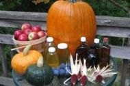 Fall harvest including syrup, honey, squash, pumpkin, apples, corn
